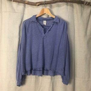 We the Free Periwinkle Linen Blend Cropped Top